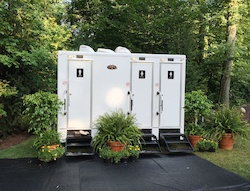 Decorate your restroom trailer to match your wedding or event theme