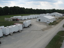 Restroom and Shower Trailers Outside at Camp Ravenna