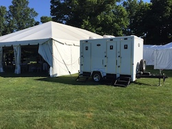 Restroom trailer rental used at Stan Hywet Hall Outdoor Wedding