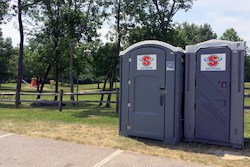 Portable restrooms at Colony Park in Hudson Ohio