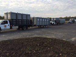 A fleet of portable toilets are packed and ready for use at the Tough Mudder Event in Central Ohio