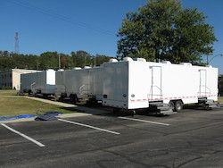Fleets of restroom trailers were set up for security personnel at the Pittsburgh G-20 Summit