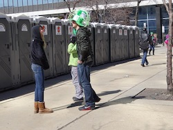 Portable restrooms line the Cleveland Streets during their annual St. Patrick's Day Parade