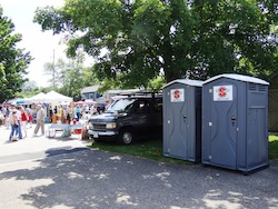 Portable Restrooms rented for use at the Hudson Flea