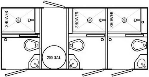 3-Stall Combination Restroom & Shower Trailer Interior Diagram