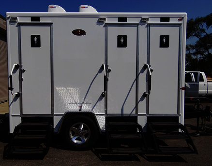 Exterior View of Grand Luxury 3-Station Restroom Trailer