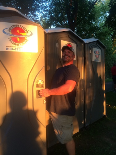 Smiling faces appear upon seeing the clean and spacious interiors of our porta potties - call us for your next festival or event
