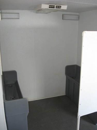 Interior View of Urinal Stalls in Crowd Pleaser Restroom Trailer