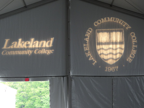 At Lakeland Community College, restroom trailers were used for commencement attendees