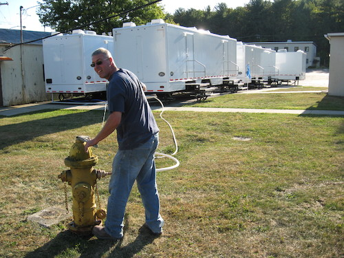 Restroom & shower trailers can operate from a simple hose hook up