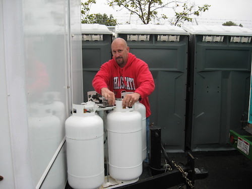 If water isn't available for your trailer, we can install water holding tanks for use