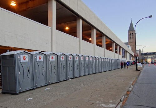 Even marathon runners need a pit stop - we were happy to provide portable toilets on the Akron Marathon race route